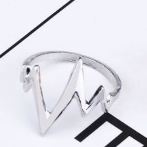 NEW Heartbeat Heart Pulse Ring EKG Silver Ring